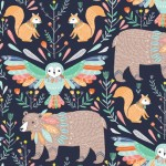 BOHO Animals Dark blue
